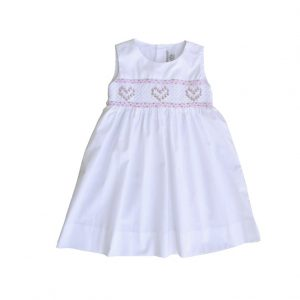 White Hearts Embroidered Dress