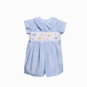 Boys Embroidered Fish Romper