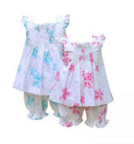 Smocked Floral Bloomers Set
