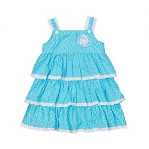 Aqua Polka Dot Tiered Dress