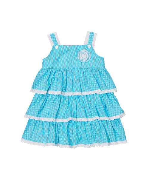 Aqua Polka Dot Tiered Dress