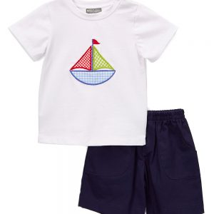Navy Blue & White Sailing Boat Short Set