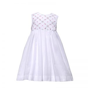 Smocked  Pink Rosestte Vine Dress