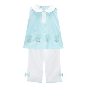 Aqua Daisy Embroidered Top & Pants