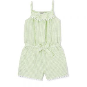 Green Gingham Seersucker Romper