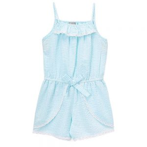 Blue Seersucker Gingham Romper