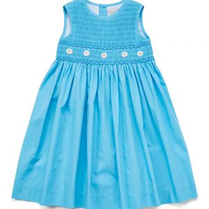 Smocked Daisy Aqua Dress