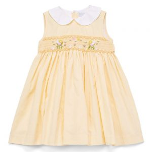 Smocked Floral Yellow Dress