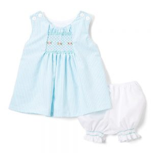 Smocked Aqua Stripe Swing Top & Bloomers