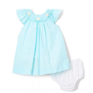 Aqua Smocked Angel Sleeve Dress