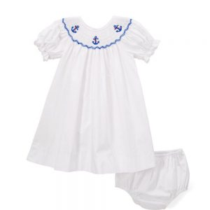Anchor Smocked Dress & Diaper Cover
