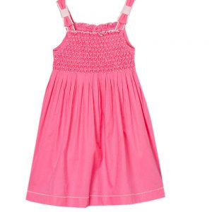 Smocked  BowTies Hot Pink  Dress