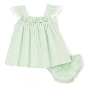 Green Smocked Swing Top & Diaper Cover