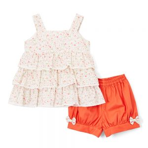 Floral Tiered Tank Top & Orange Bloomers