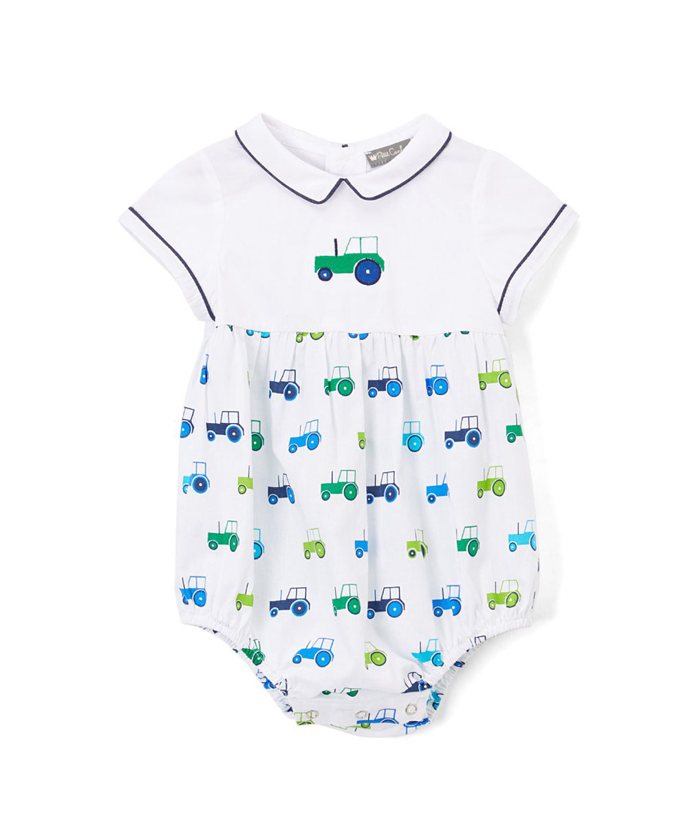 Ehite & Green Tractor Embroidered Bubble