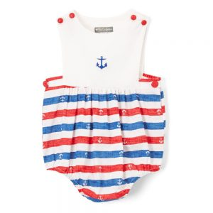 Red & Blue Anchor  Boy Romper