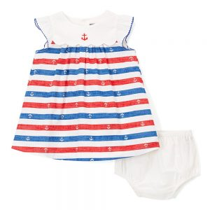 Red White& Blue Anchor Baby Doll Dress
