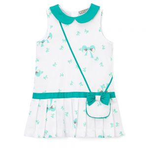 Green & White Bow Drop Waist Dress & Purse