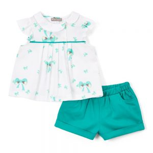 White & Green Bow Top& Shorts