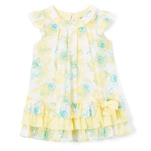 Yellow & Green Floral Angel Sleeve Dress