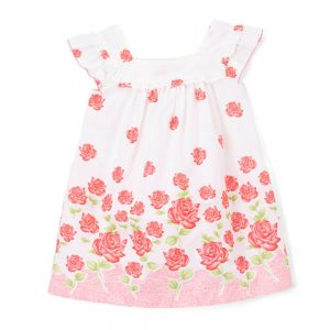 White & Pink Rose Swing Dress