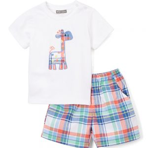 Plaid Giraffe Tee & Shorts