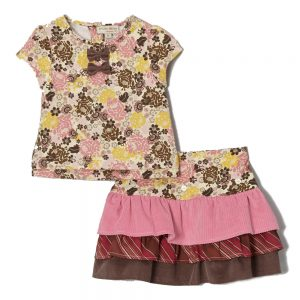 Pink & Yellow Top & Tiered Skirt