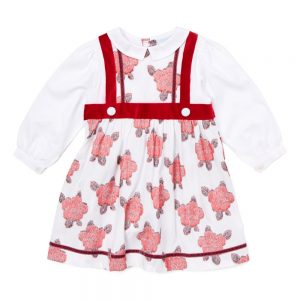 Ivory & Red Pinafore Dress