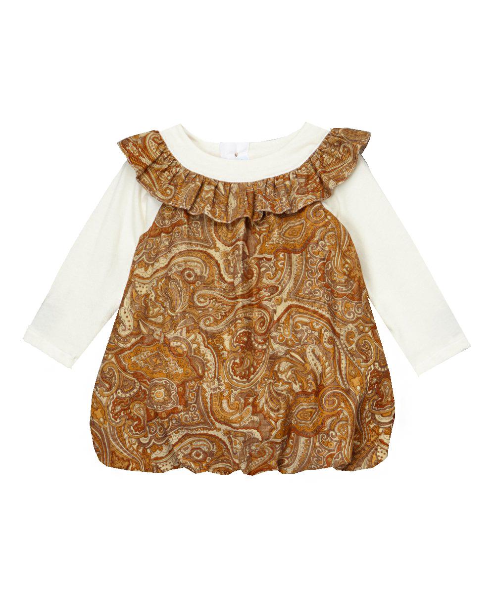 Brown Paisley Corduroy Bubble Dress
