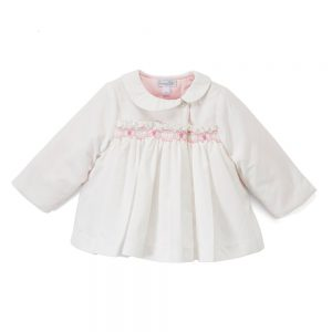 Pink Smocked White Pea Coat