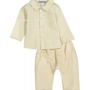 Beige Corduroy Pants & Gingham  Shirt