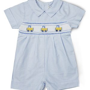 Smocked Blue Truck Shortalls