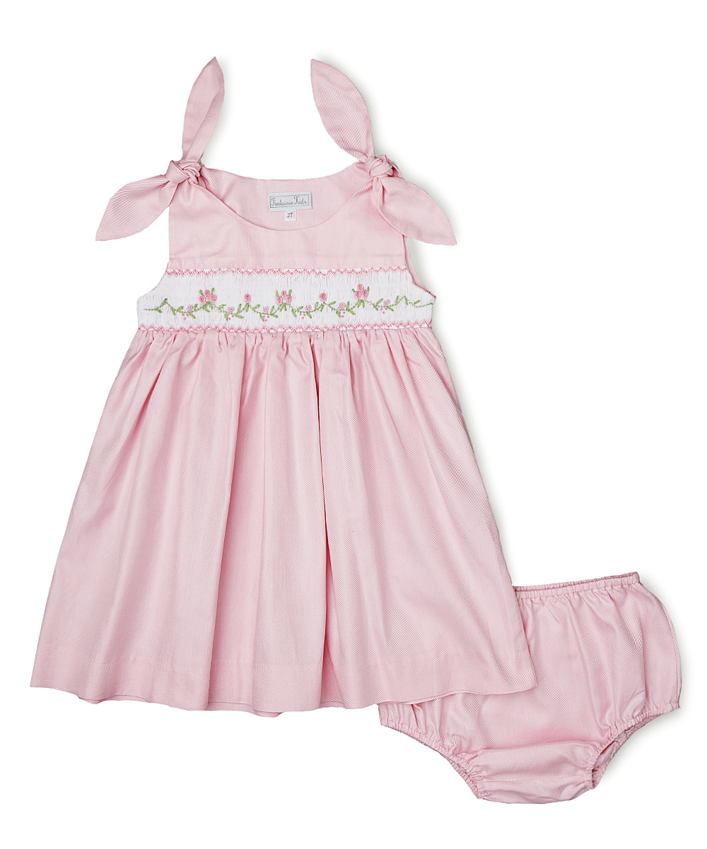 Bow Tie Smocked Pink Dress