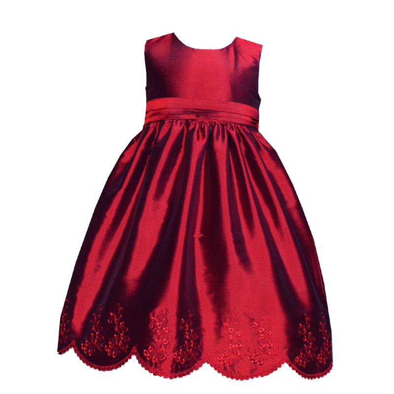 Classic Scallop Embroidered Flower Girl Dress