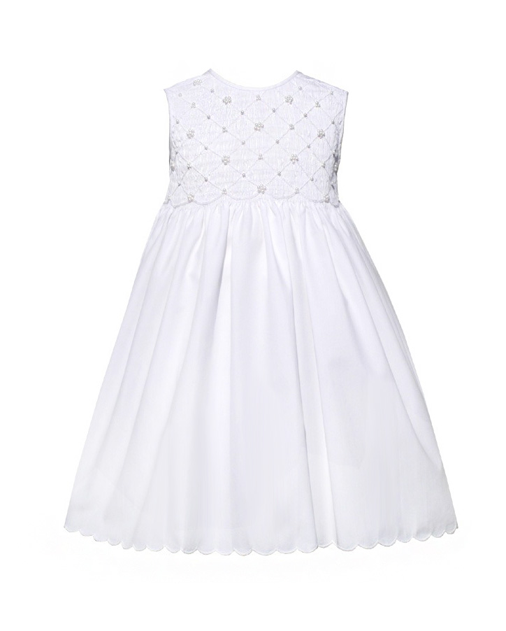 Smocked Dress with Pearl