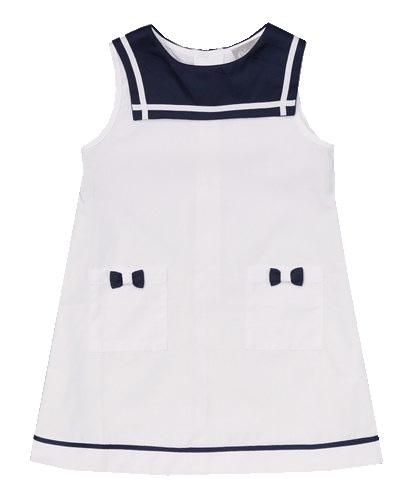 White  & Navy Sailor Dress
