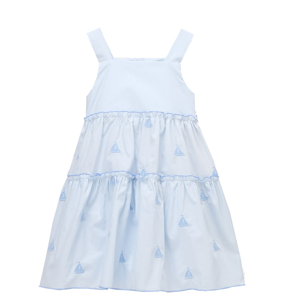 Blue Sailing  Boat Tiered Dress