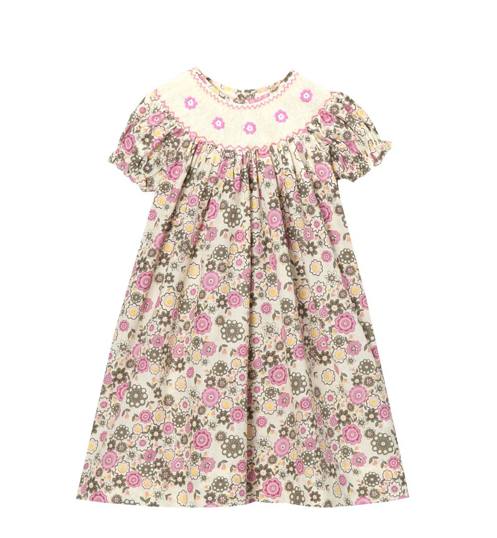 Smocked Floral Bishop Dress