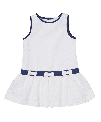 White Eyelet & Navy Bow Dress