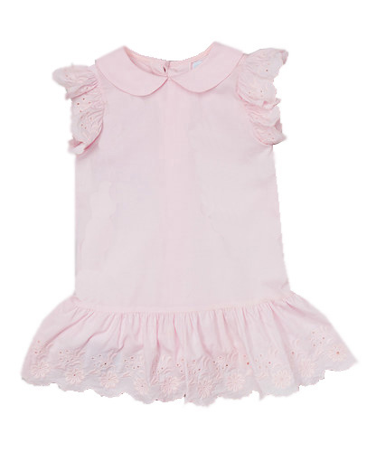 Pink Eyelet Embroidered Drop Waisted Dress