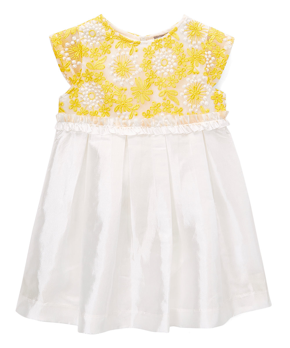 Yellow Embroidered  Organza Lace Dress