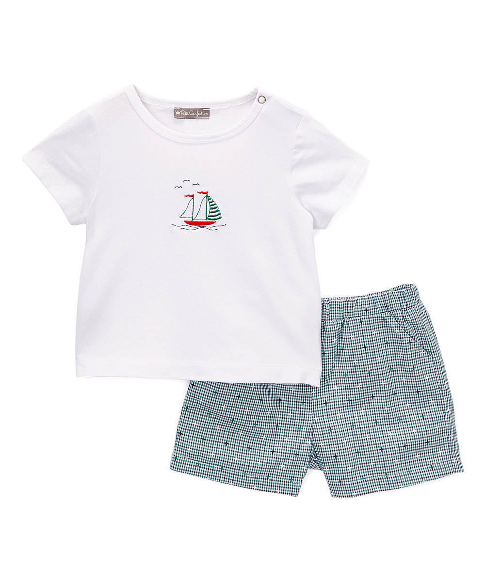 White & Blue Sailing Boat Short Set