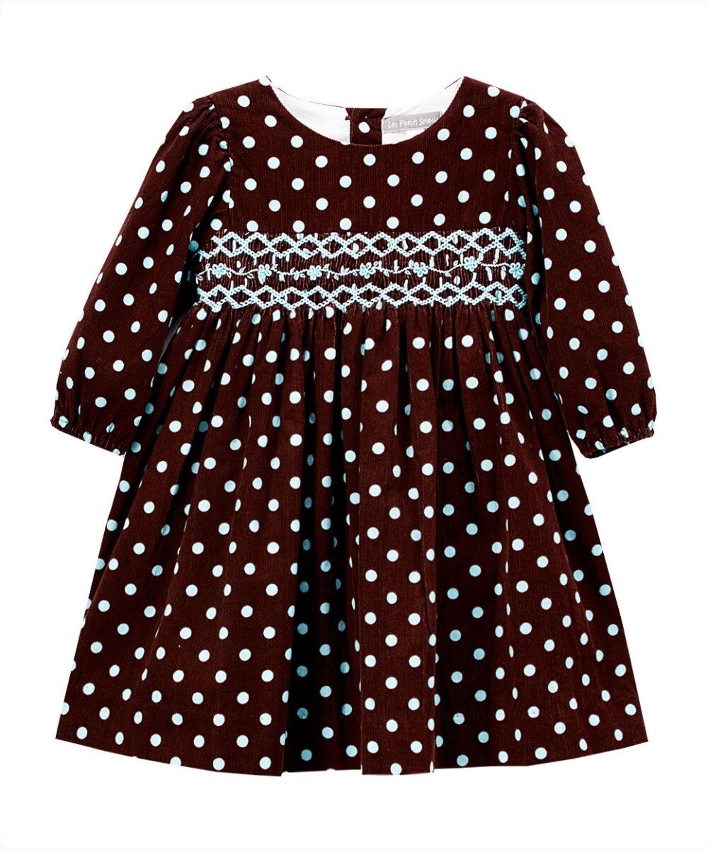 Aqua & Brown Polka Dot Smocked Corduroy Dress