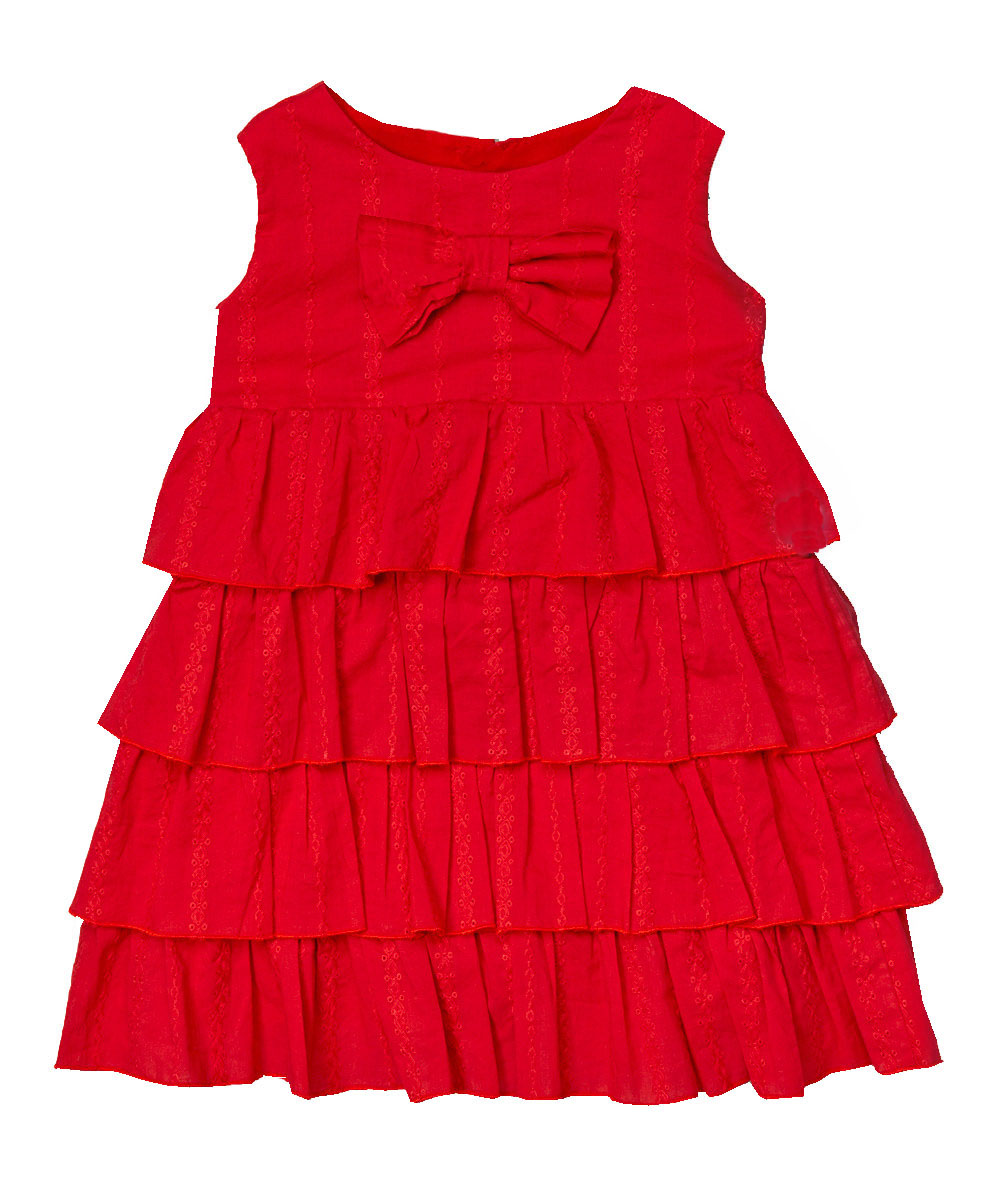 Red Eyelet Tirered Dress