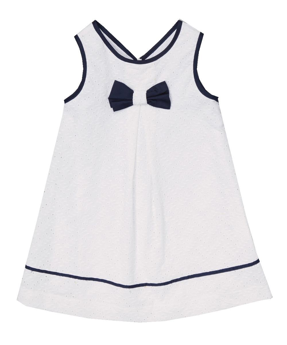 White Eyelet & Navy Bowtie Dress