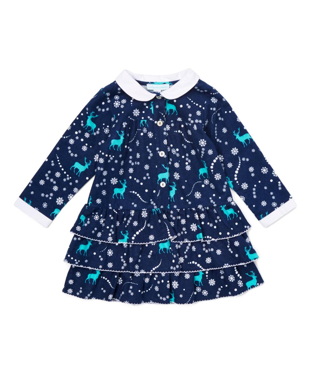 Navy Blue Reindeer Ruffle Dress