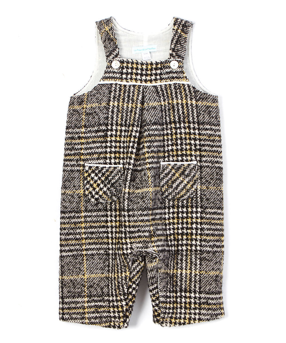 Gray Plaid Wool Blend  Cotton Overalls