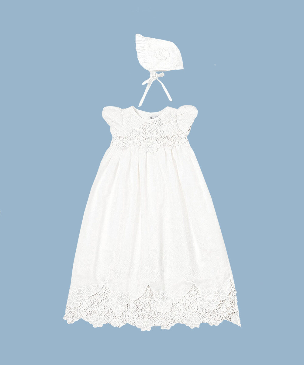 Cut Work Embroidered Christening Gown & Bonnet