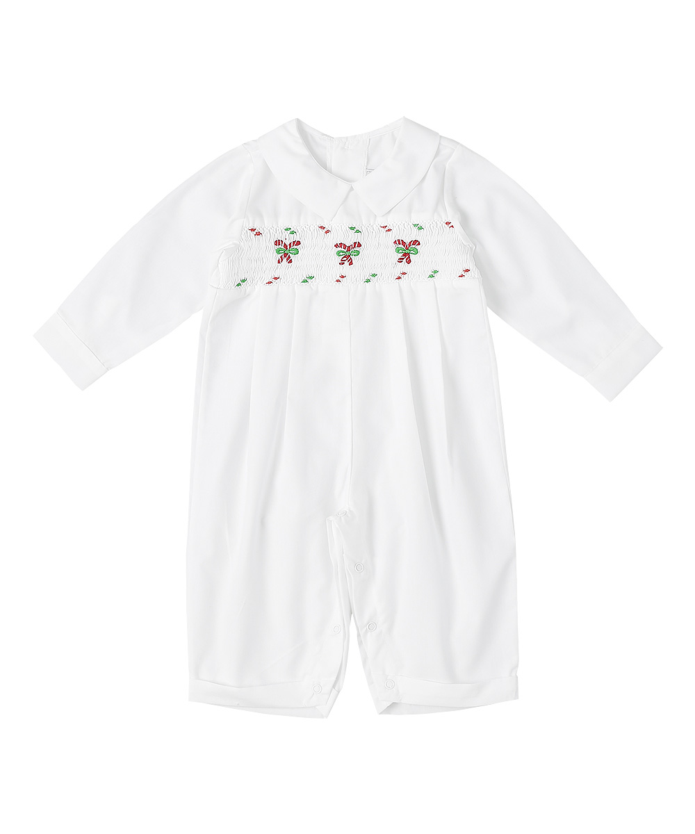 Smocked Candy Cane Christmas Romper