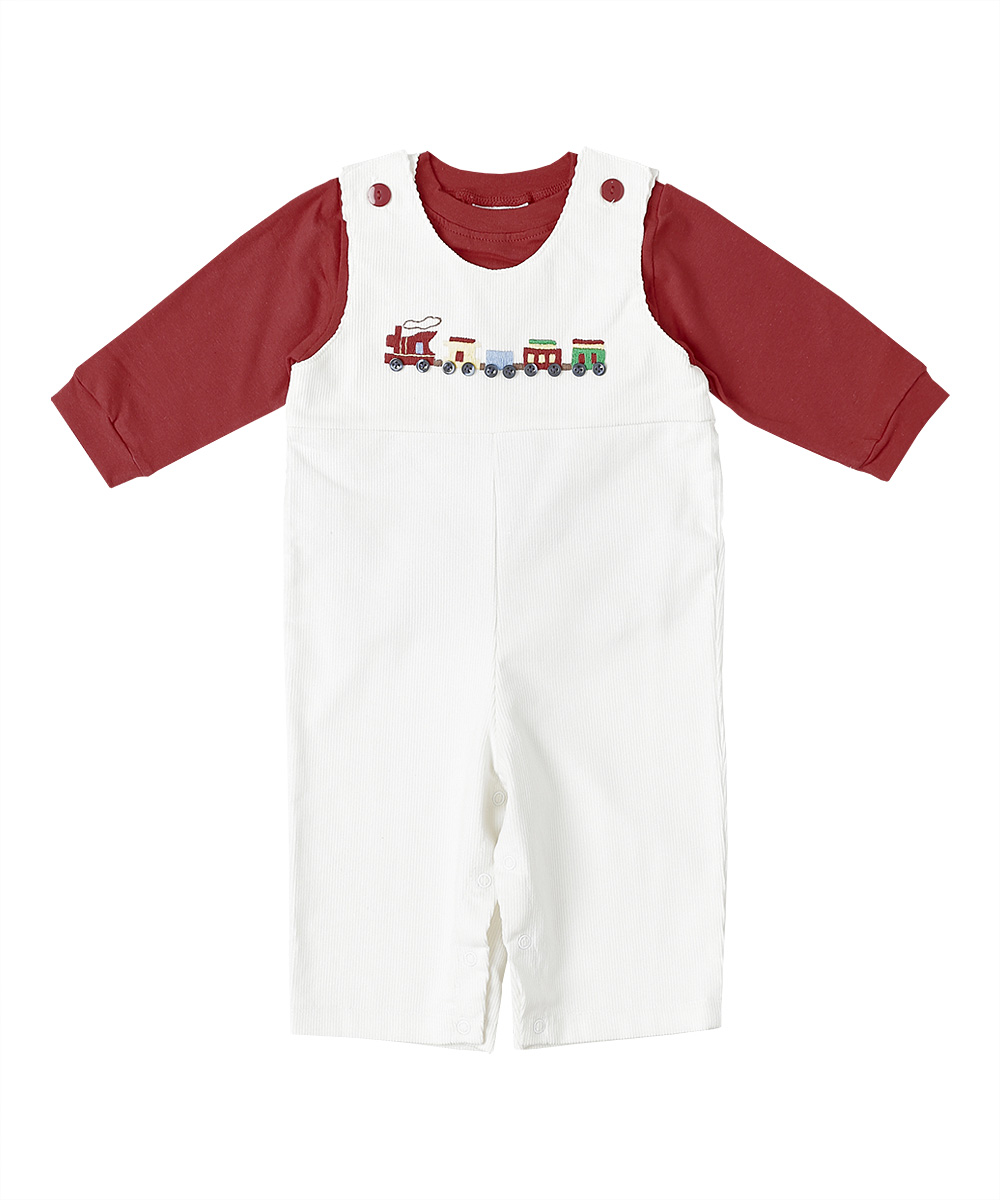 Train Embroidered Overalls  & T-Shirt